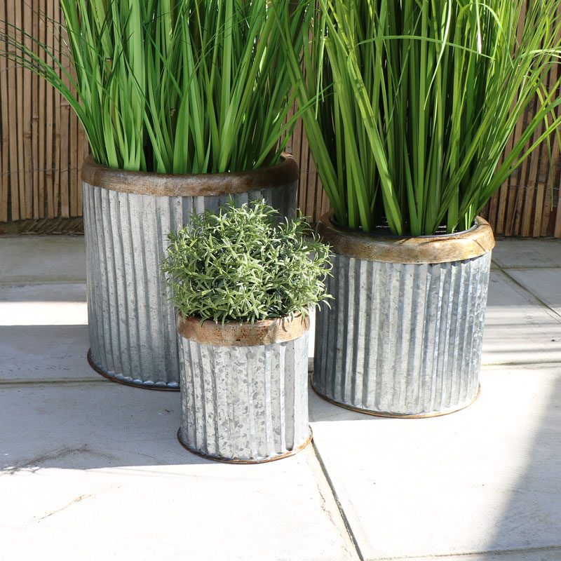 Set of 3 Round Grey Metal Planters