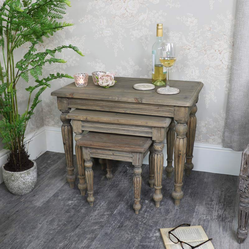 Set of 3 Rustic Reclaimed Wood Nest of Tables