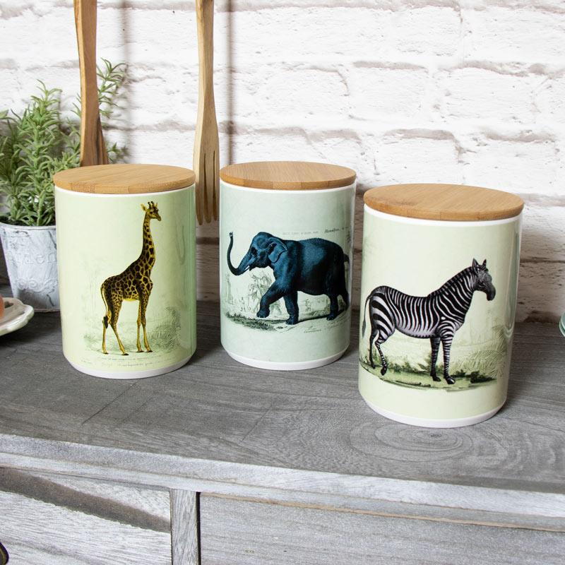 Set of 3 Safari Storage Jars
