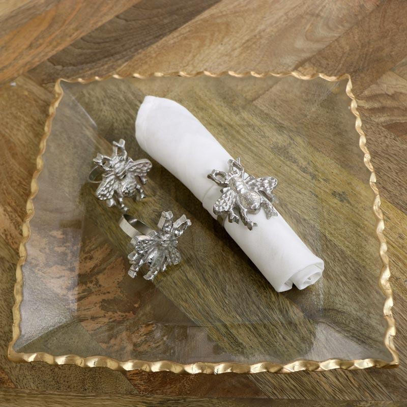 Set of 3 Silver Bumblebee Napkin Rings