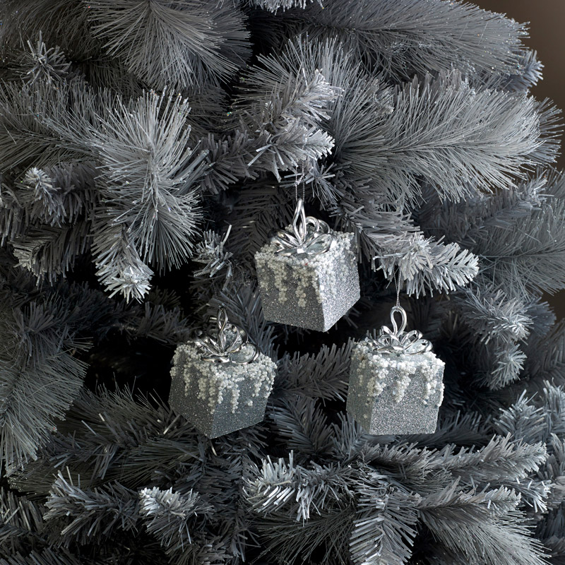 Set of 3 Silver Glitter Christmas Gift Tree Baubles