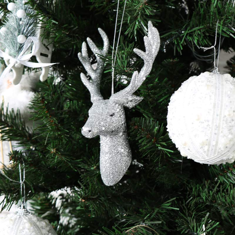 Set of 3 Silver Glitter Hanging Stag Christmas Tree Baubles