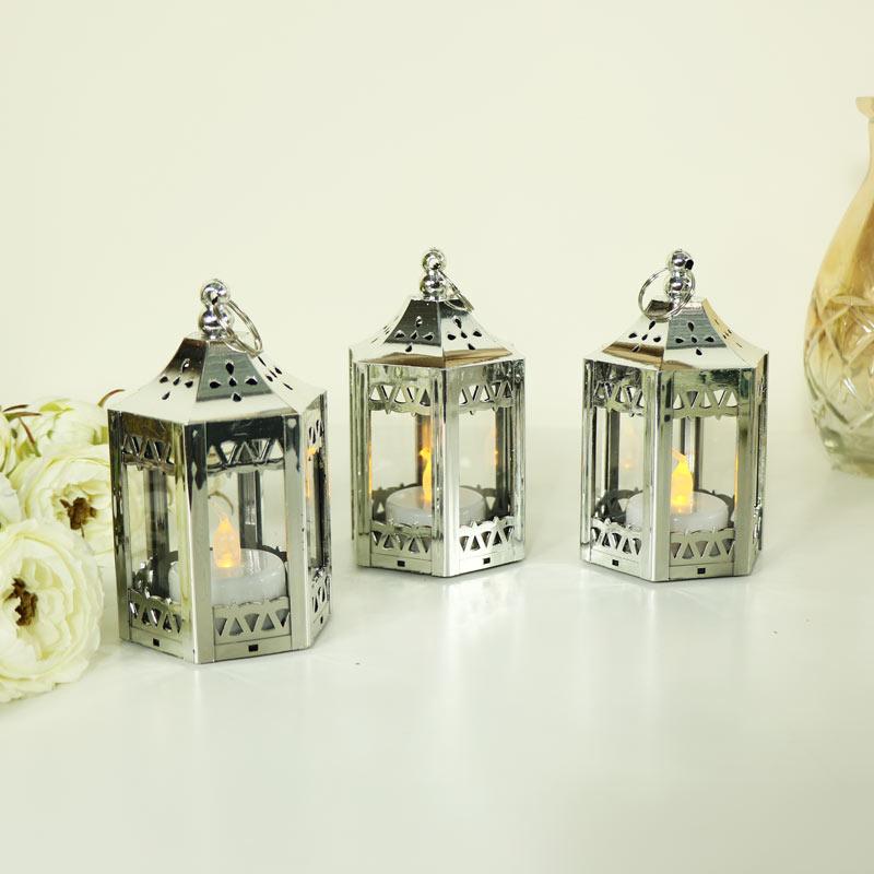 Set of 3 Silver LED Candle Lanterns