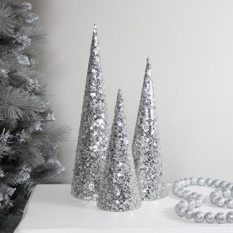 Set of 3 Silver Sequin Christmas Cones