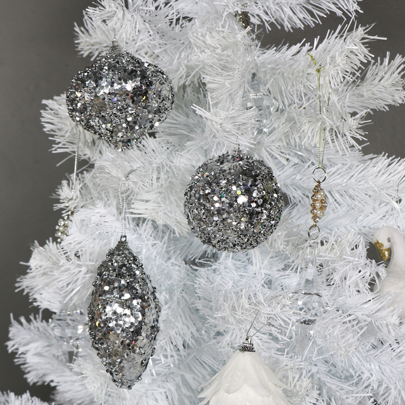 Set of 3 Silver Sparkle Christmas Baubles