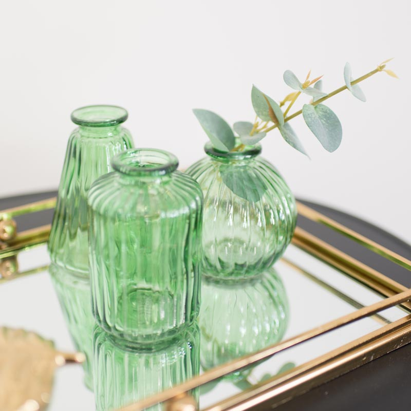 Set of 3 Small Green Glass Vases