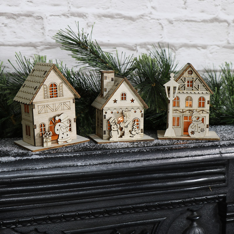 Small Wooden Light Up Christmas House Melody Maison 174
