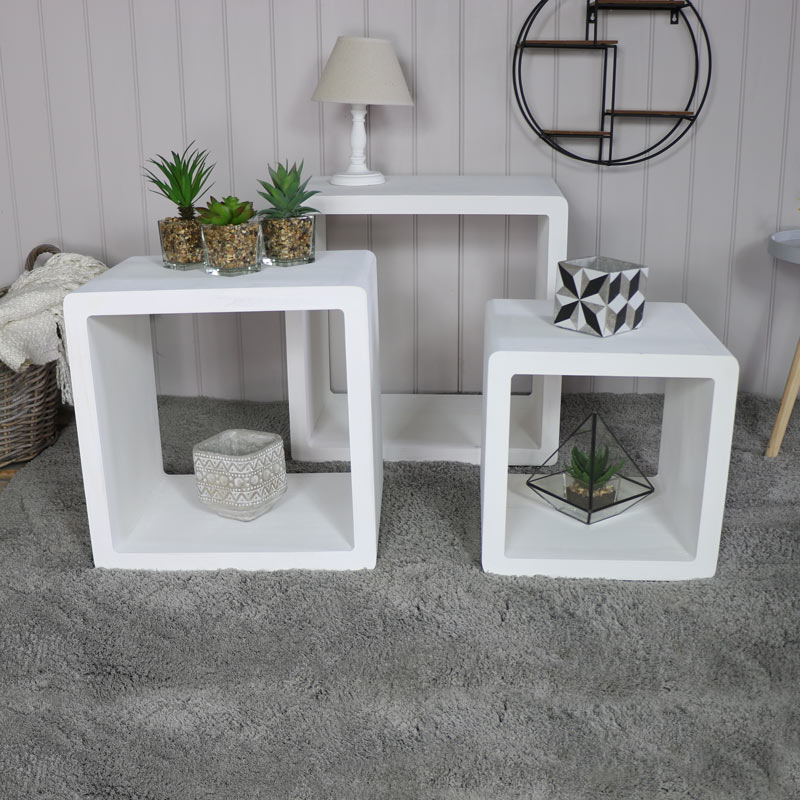 Set of 3 White Cube Nest of Tables