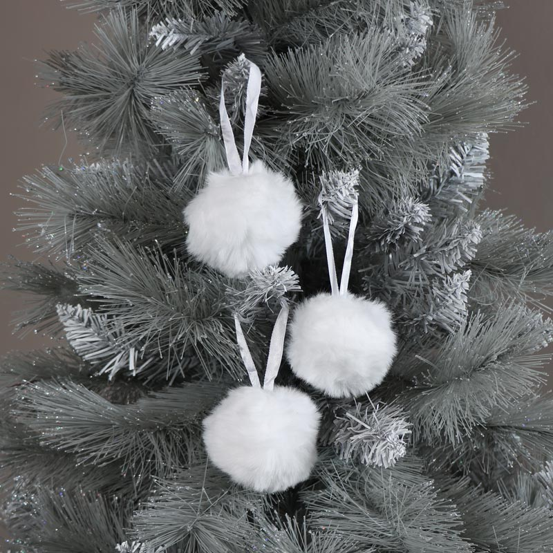 Set of 3 White Fur Christmas Baubles