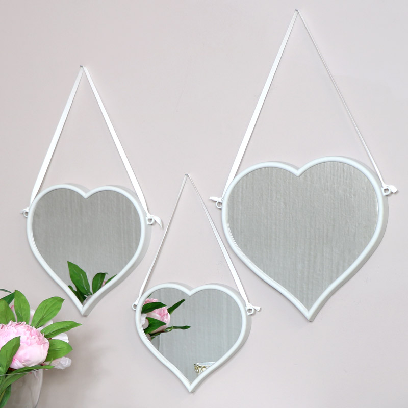 Set of 3 White Heart Wall Mirrors