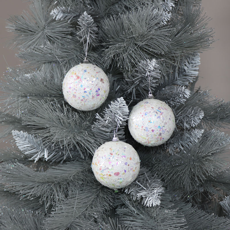 Set of 3 White Iridescent Christmas Baubles
