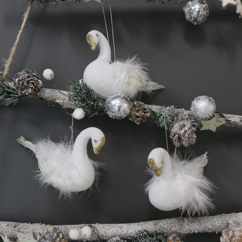 Set of 3 White Swan Christmas Ornaments