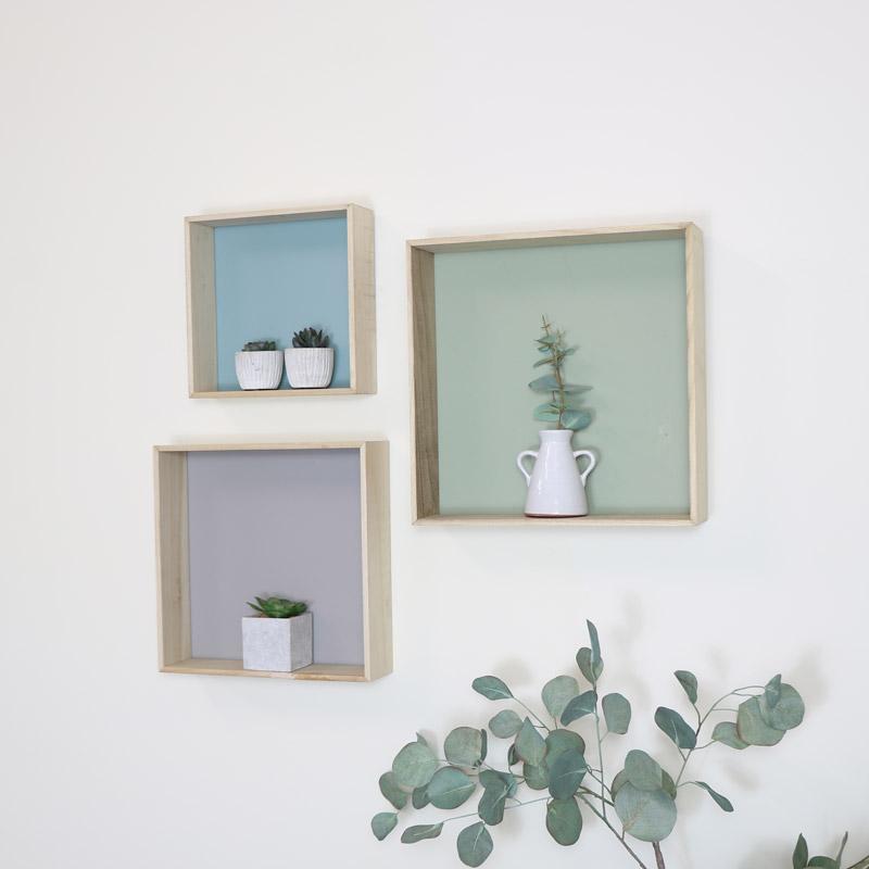 Set of 3 Wooden Box Shelves