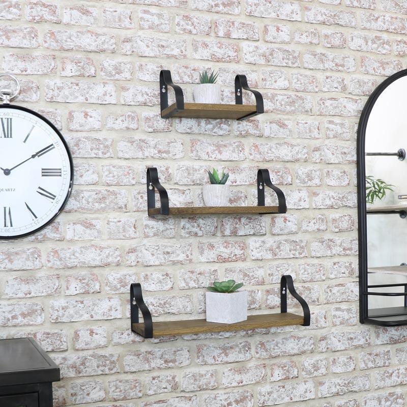 Set of 3 Wooden Industrial Shelves