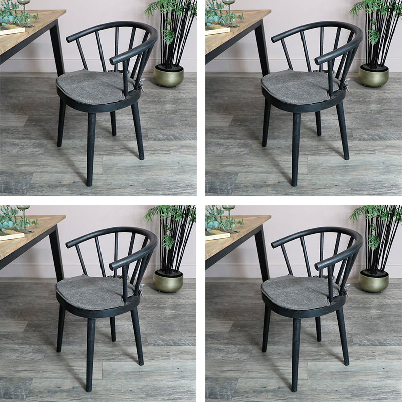 Set of 4 Black Nordic Dining Chairs