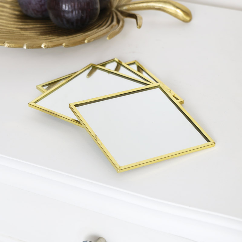 Set of 4 Gold Mirror Coasters