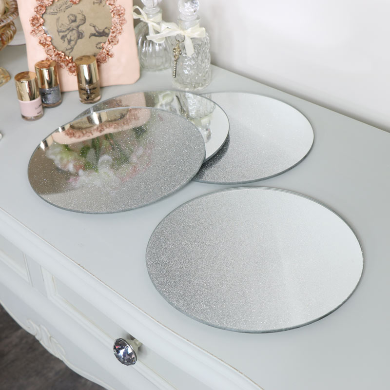 Set of 4 Large Silver Glitter Glass Placemats/Candle Plates