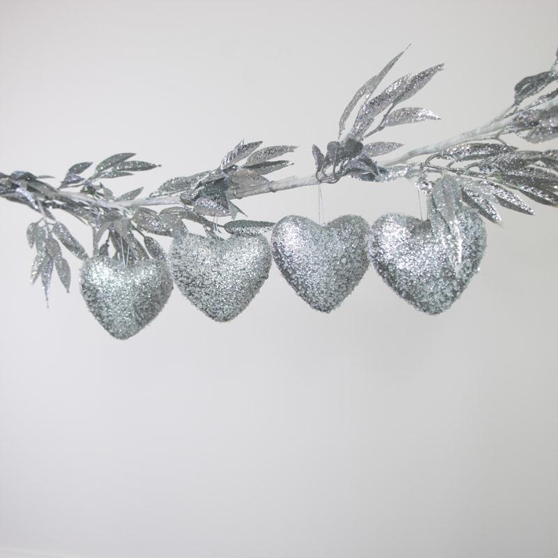 Set Of 4 Silver Glitter Heart Baubles.