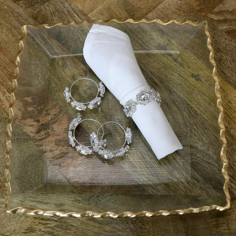 Set of 4 Silver Jewelled Napkin Rings