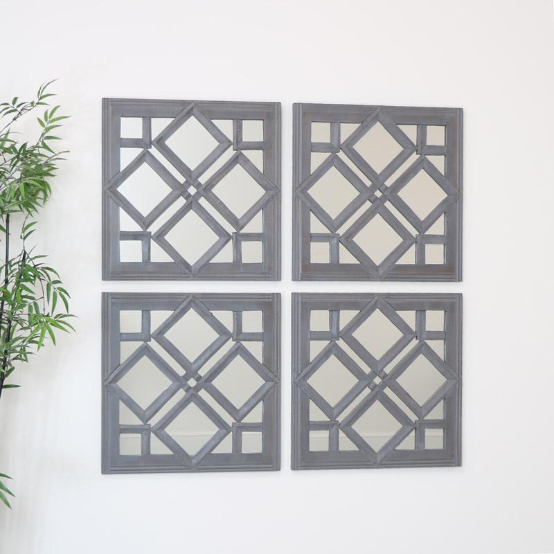 Set of 4 Square Grey Wooden Diamond Mirrors