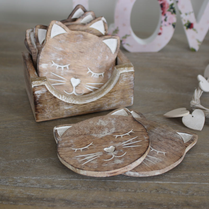 Set of 6 Carved Wooden Cat Coasters in Wooden Stand