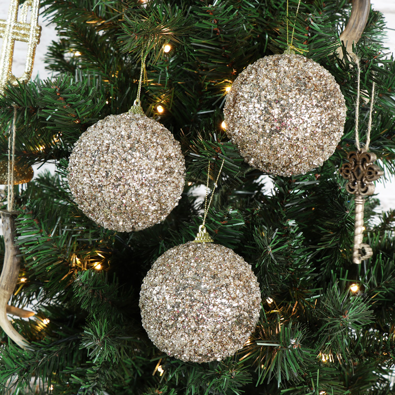 set of 6 large gold glittery baubles vintage christmas hanging tree decorations