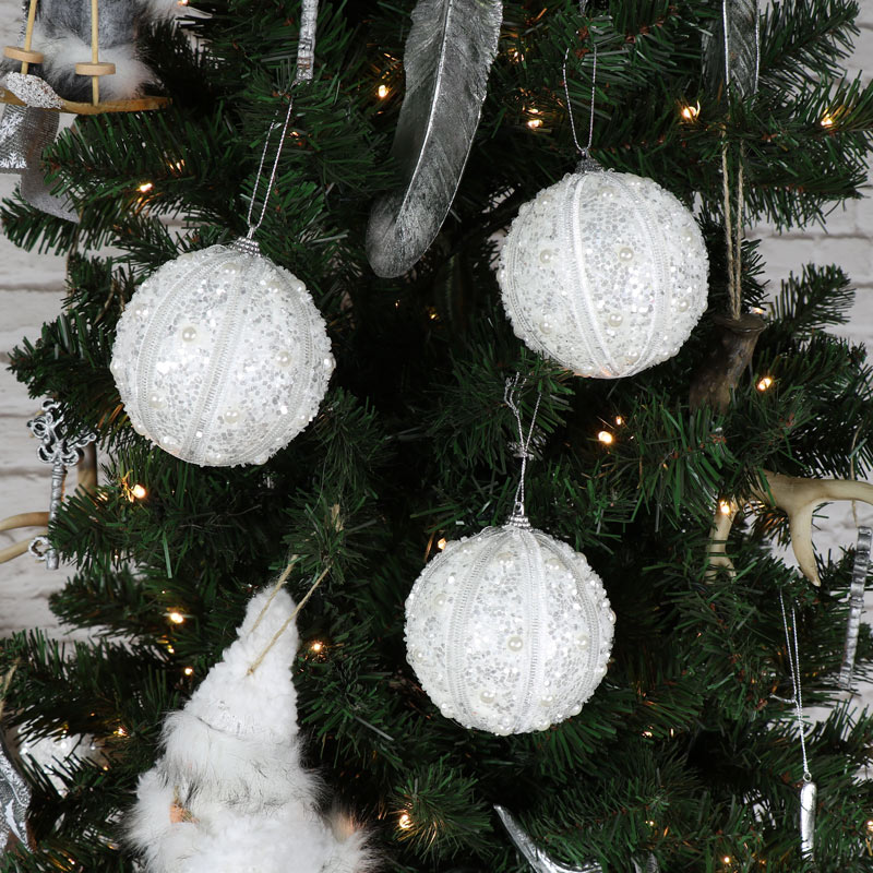 Set of 6 Large White Sparkly Pearl Christmas Tree Baubles