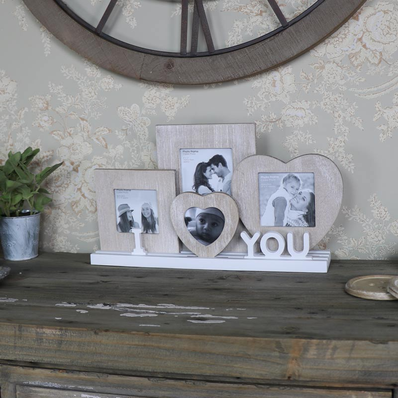"Set of Rustic Wooden Photo Frames ""I Love You"""