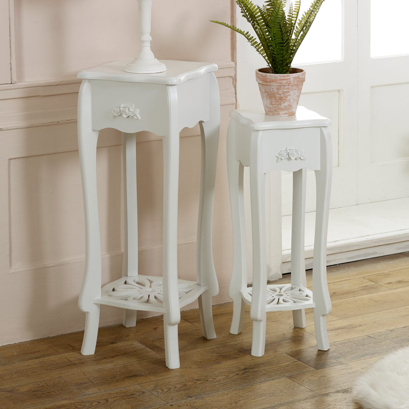 Set of Two White occasional Lamp Tables - Lila Range