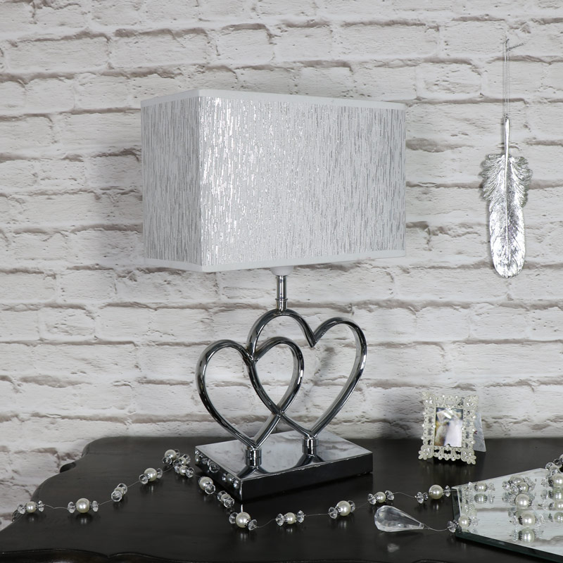 Silver and Chrome Twin Heart Table Lamp