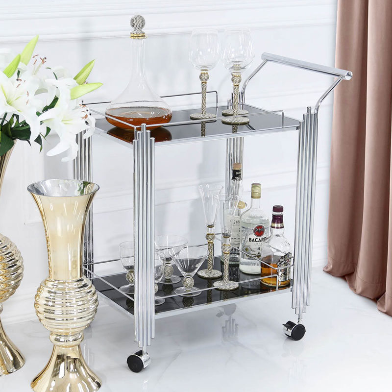Silver & Black Glass Bar Cart