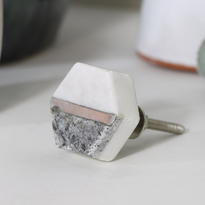 Silver & Black Marble Hexagon Drawer Knob