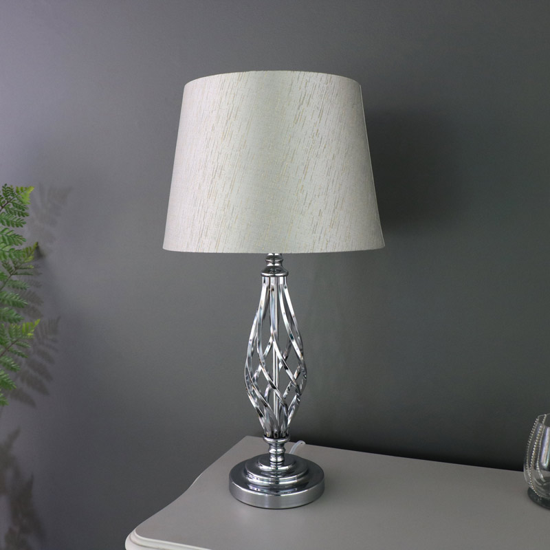 Silver Chrome Table Lampwith Linen Shade