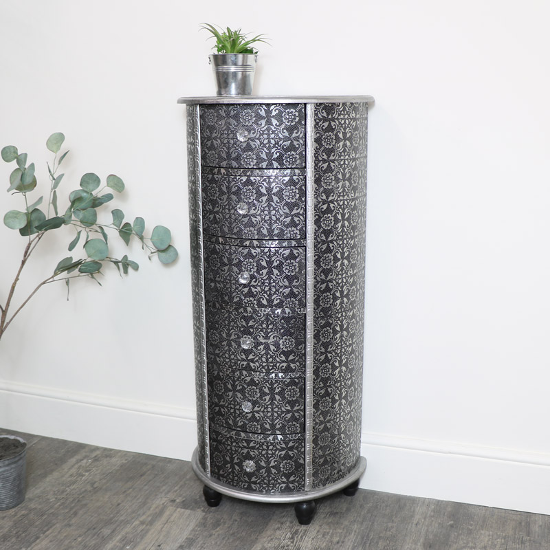 Silver Curved Tall Boy Chest of Drawers - Monique Range