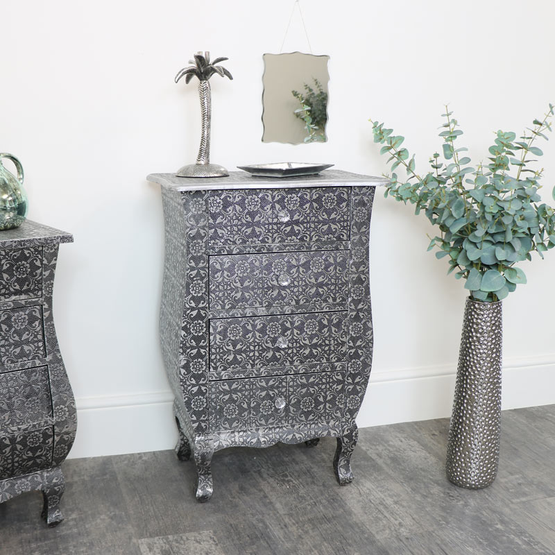 Silver Embossed 4 Drawer Bedside Table - Monique Range