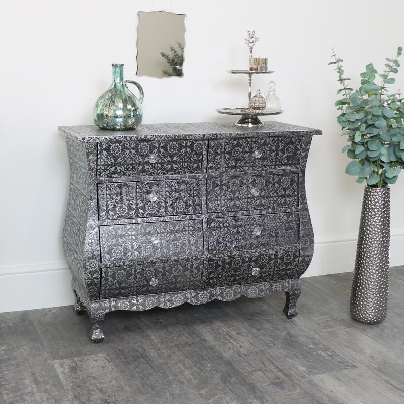 Silver Embossed 8 Drawer Chest of Drawers - Monique Range