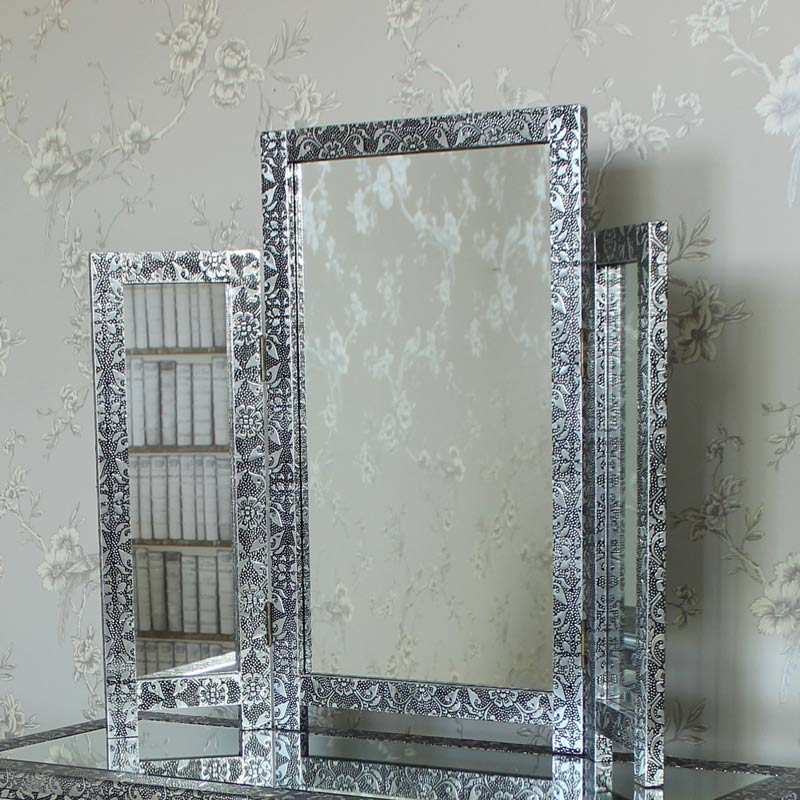 Silver Embossed Table Top Triple Vanity Mirror - Monique Range