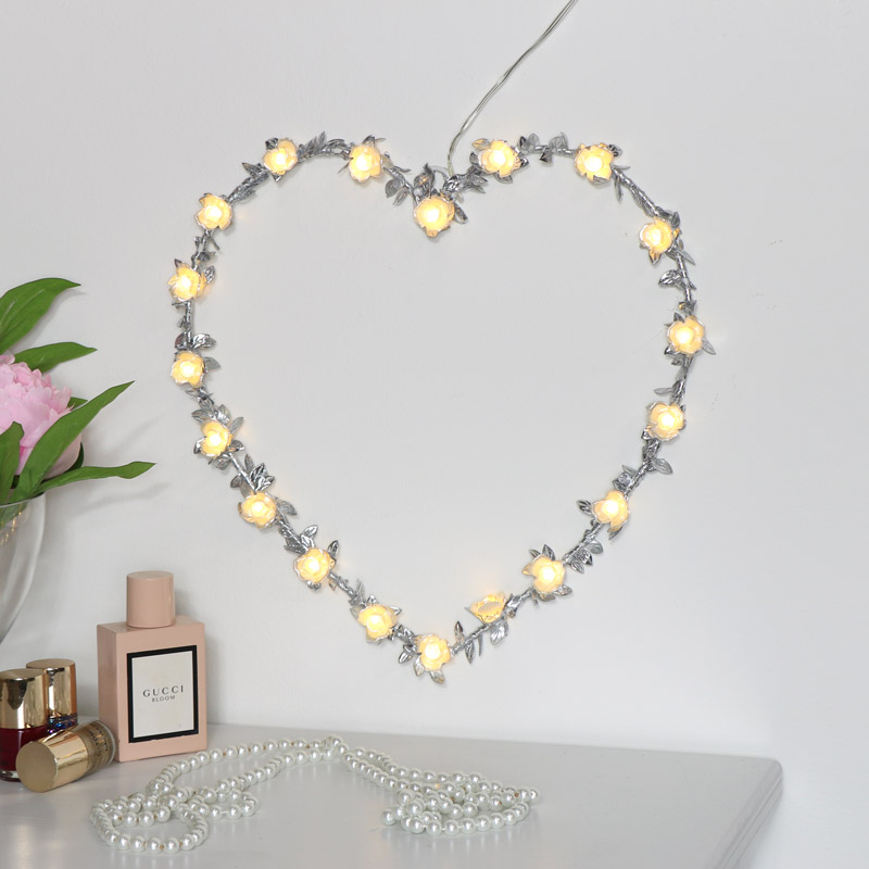 Silver Floral Heart Light