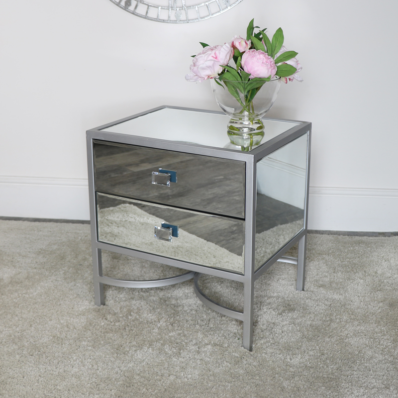 Silver Framed Mirrored Bedside / Occasional Table - Thalia Range DAMAGED SECONDS ITEM 2072