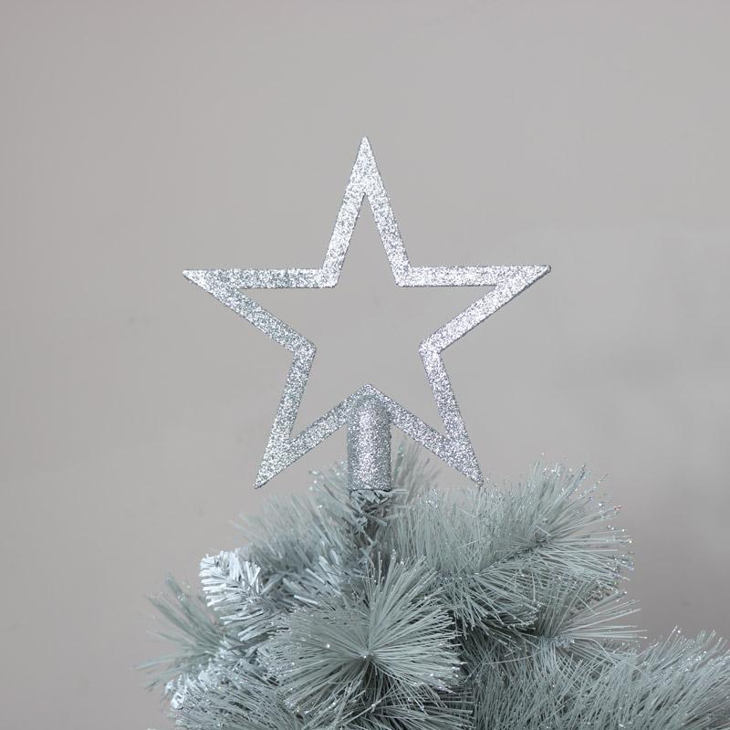 Silver Glitter Christmas Star Tree Topper