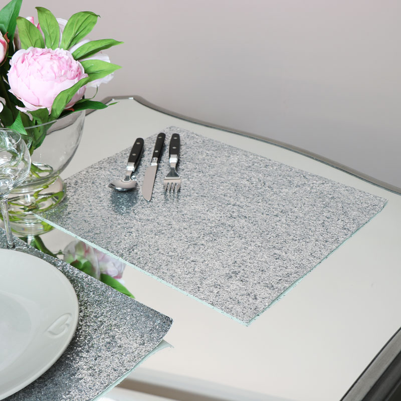 Silver Glitter Placemats