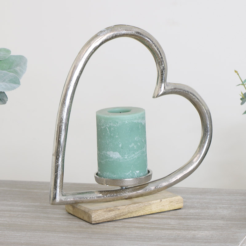 Silver Heart Candle Holder