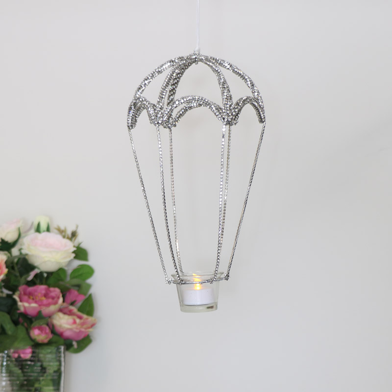 Silver Jewelled Hot Air Balloon Tealight Holder