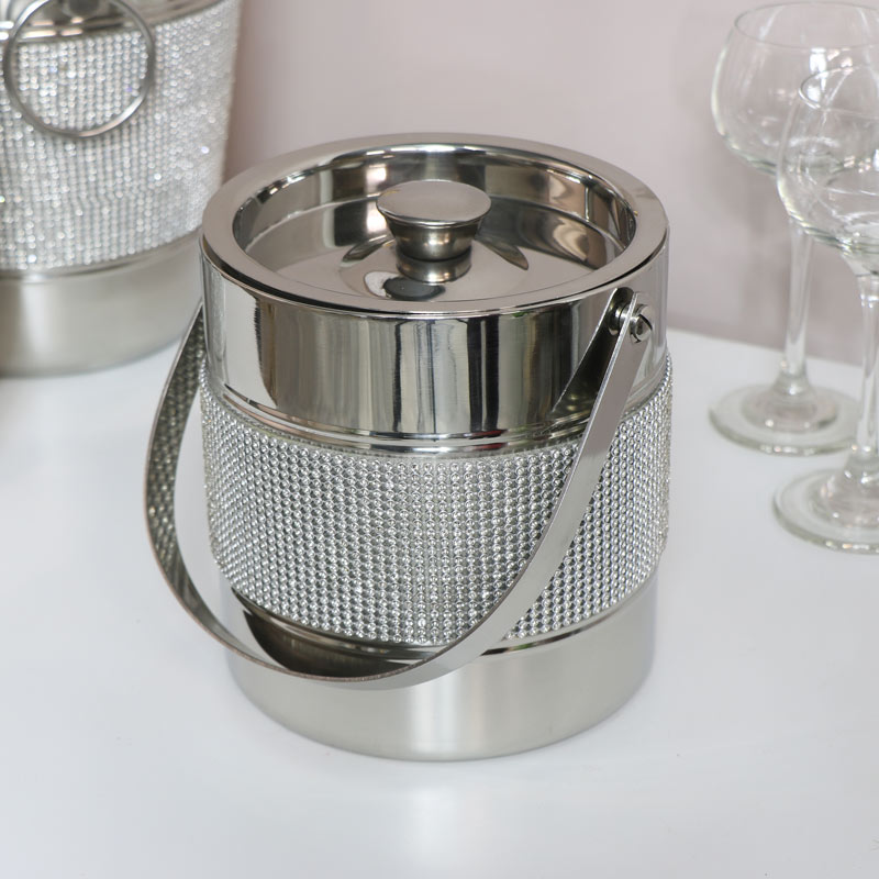 Silver Jewelled Ice Bucket
