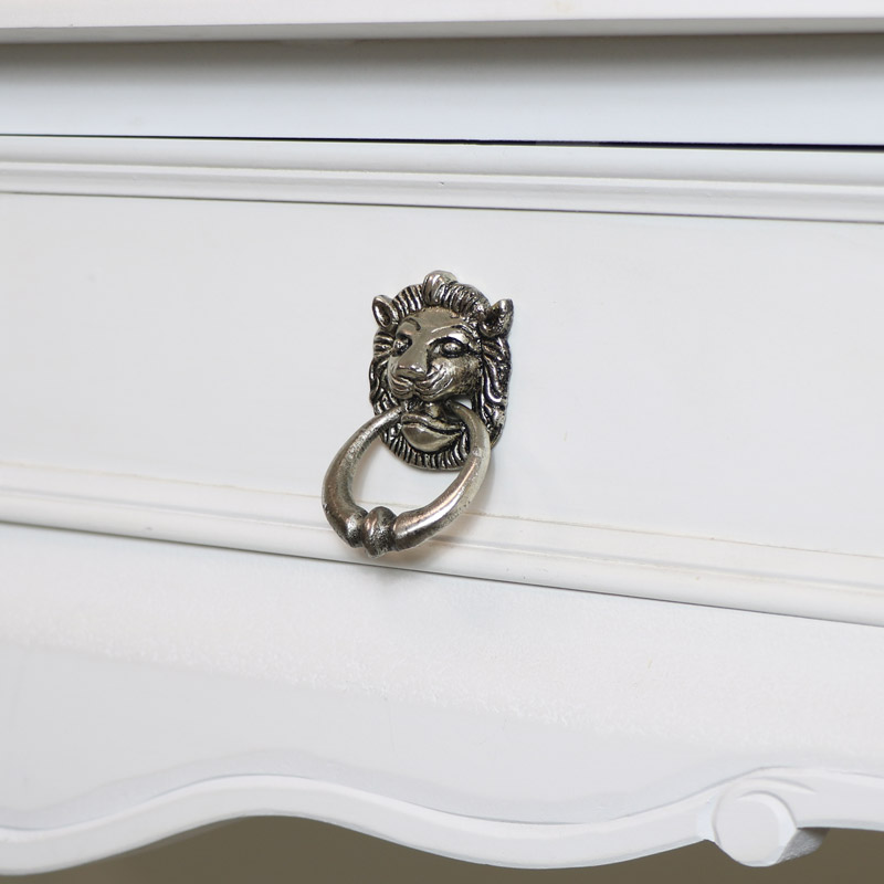 Silver Lion Head Drawer Knob