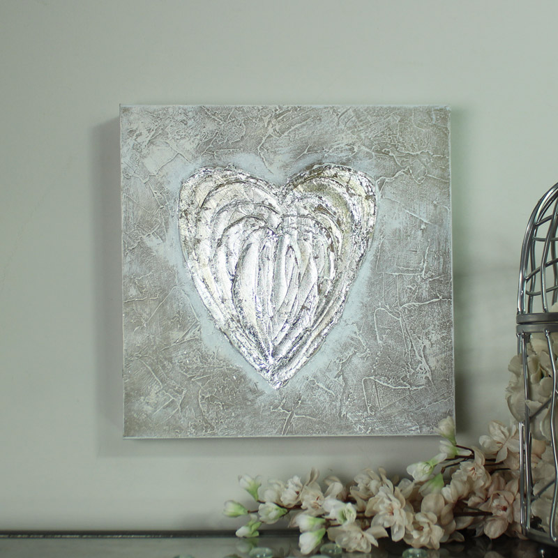 Wall Hanging Artwork : Silver love heart wall art hanging picture print canvas