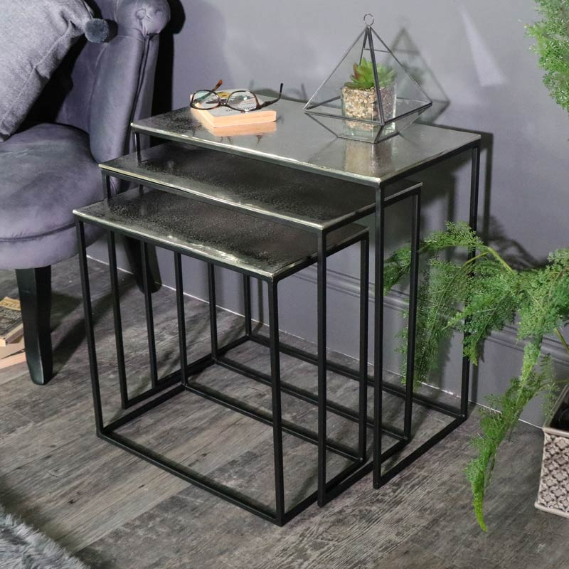 Silver Metal Nest of 3 Tables
