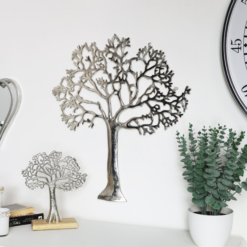 Silver Metal Tree Of Life Wall Plaque