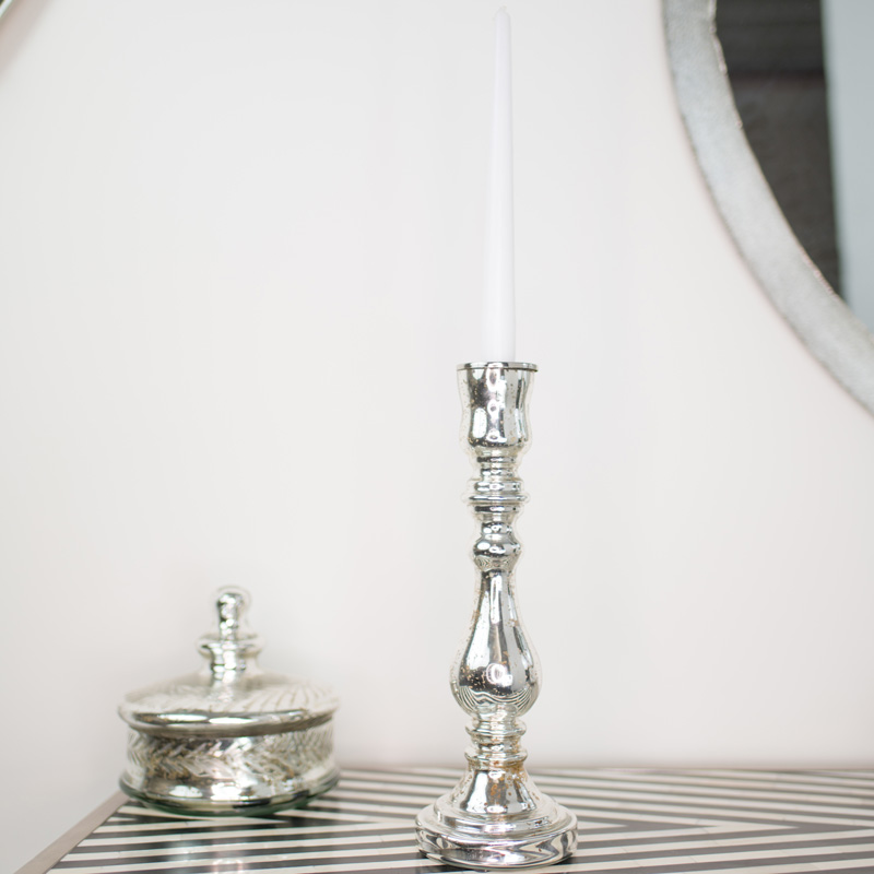 Silver Metallic Glass Candle Holder