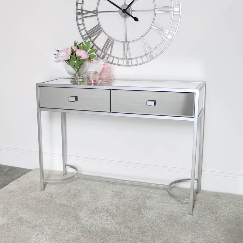 Silver Mirrored Console Hall Table - Thalia Range DAMAGED SECOND 3991